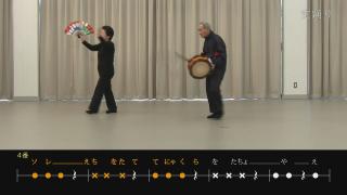 篠原踊りの伝承用映像(下のテロップは歌詞と太鼓のリズム)